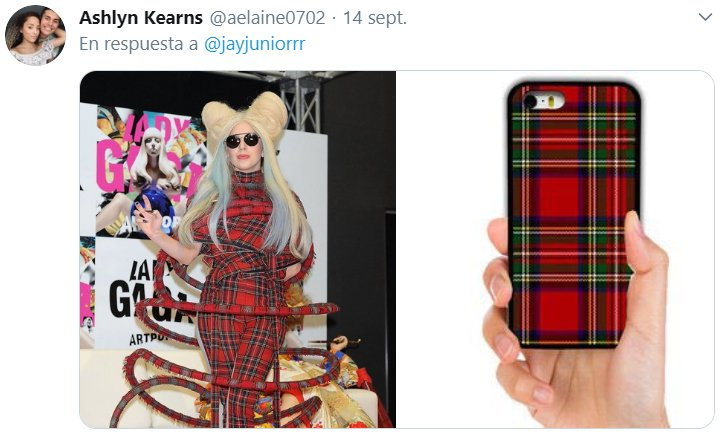 Comparación de Lady Gaga usando un traje de estampado escoces con un iphone