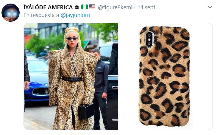 Comparación de Lady Gaga con la cubierta trasera de un iphone con animal print