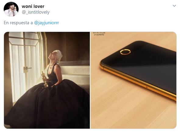 Comparación de Lady Gaga usando un vestido con un iphone