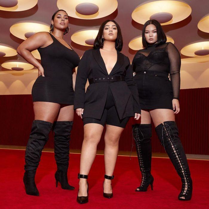 tres modelos talla plus usan botas altas para chicas curvy