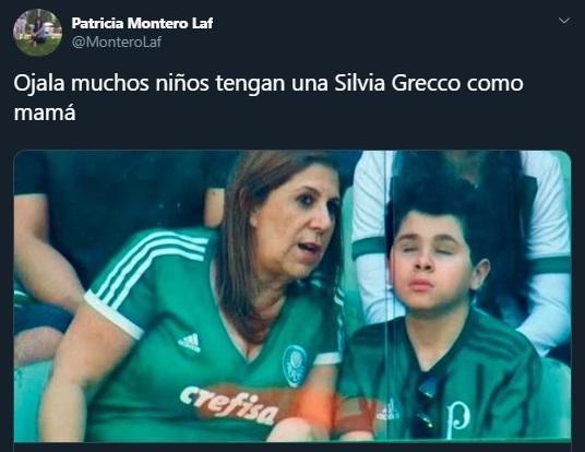 Tuit sobre Silvia Grecco narrando los partidos de futbol a su hijo invidente