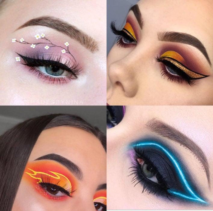 Maquillaje creativo para ojos; sombra creativa