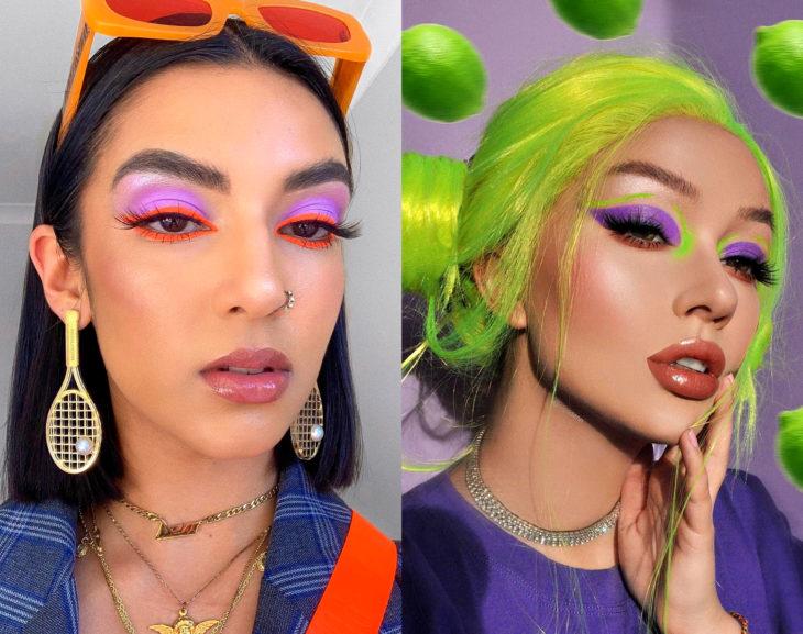 Maquillaje creativo para ojos; colores llamaticos, morado, verde, rosa