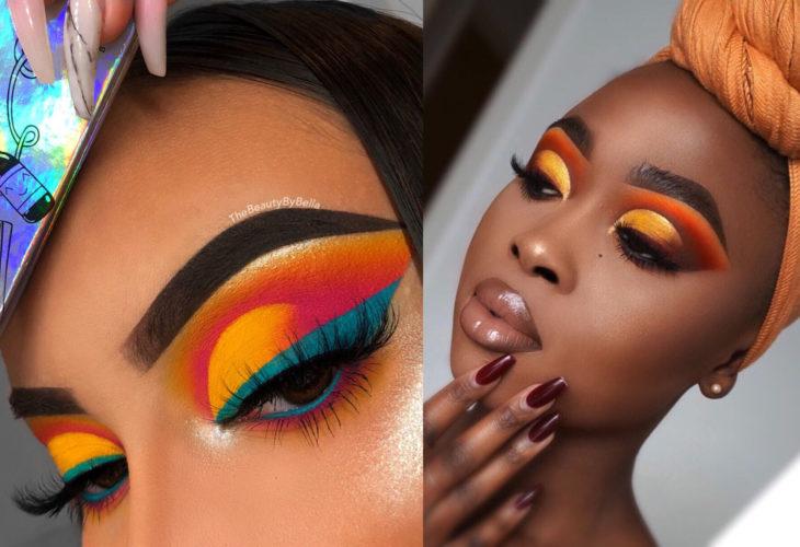 Maquillaje creativo para ojos; cut crease creativo y temático, sombra de ojos del rey león y de mar al atardecer