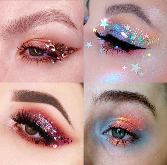 Maquillaje creativo para ojos; sombra con glitter