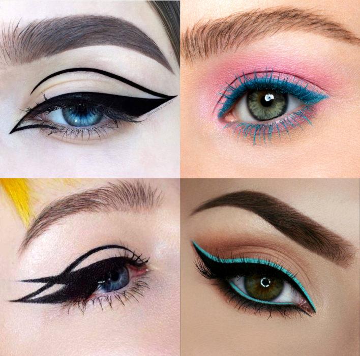 Maquillaje creativo para ojos; delineado diferente