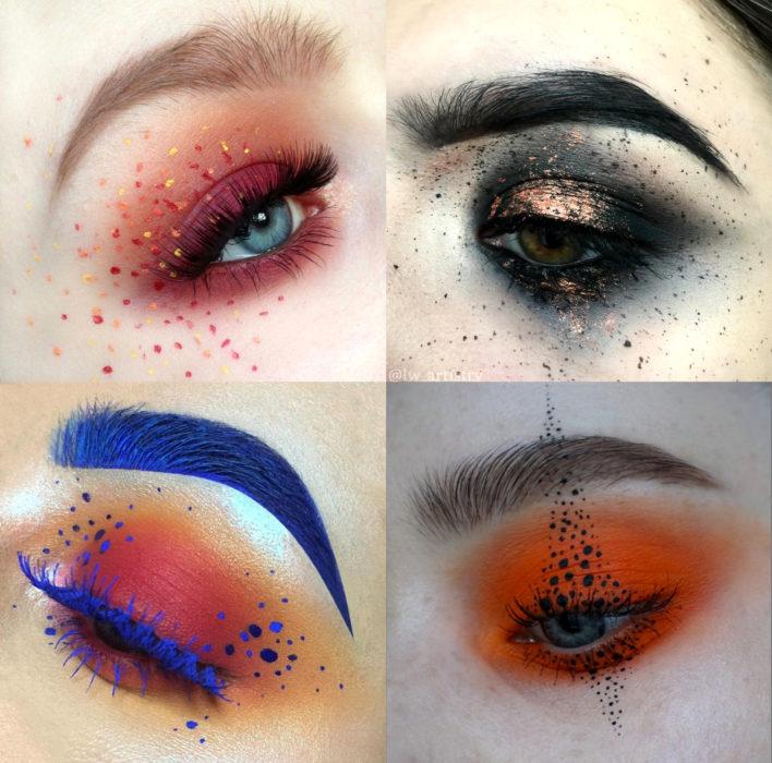 Maquillaje creativo para ojos; pecas en los ojos, puntos