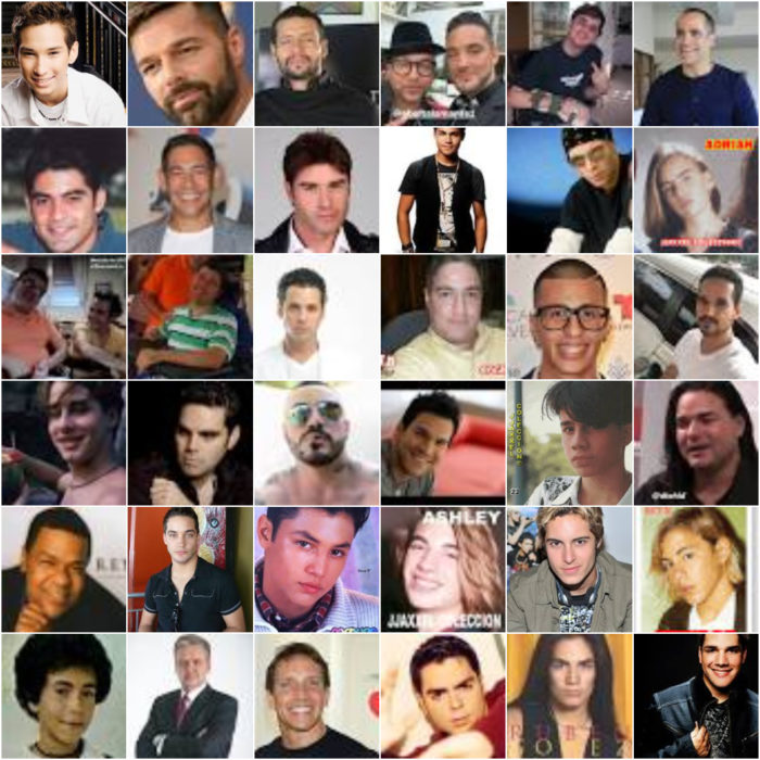 Collage con rostros de hombres famosos ex integrantes de la agrupación Menudo