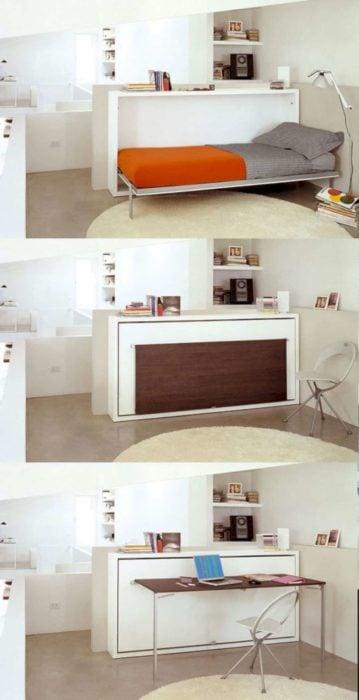 Cama y mesa despegable para ahorrar espacio