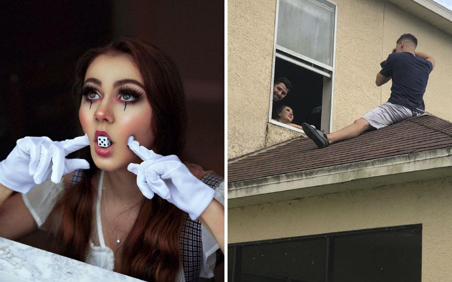 Mujer con dado en la boca