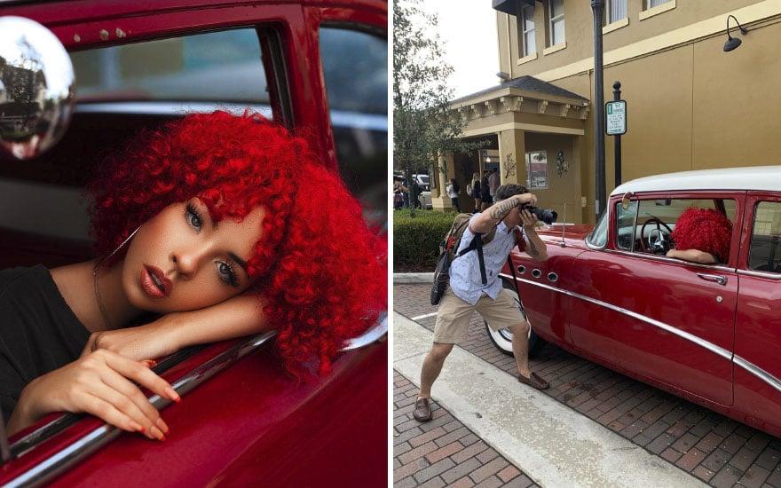 Mujer pelirroja en carro rojo