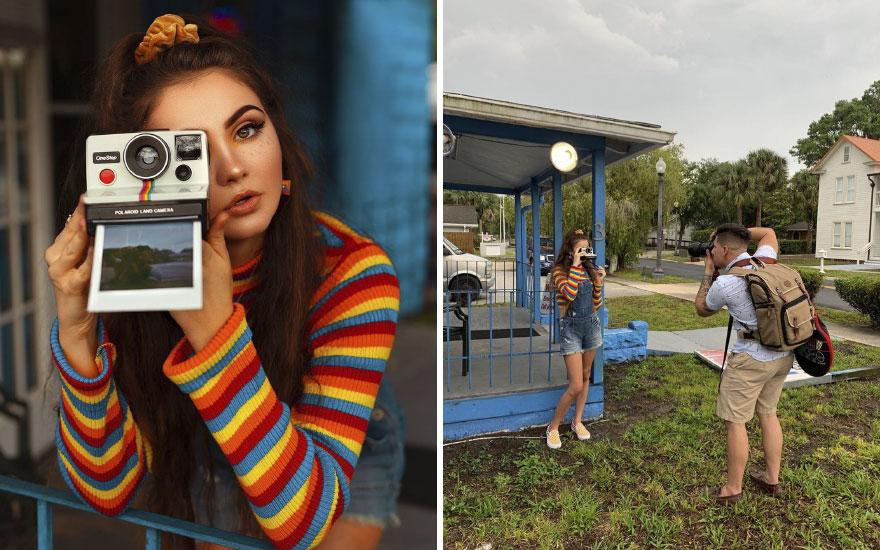 Mujer sosteniendo cámara