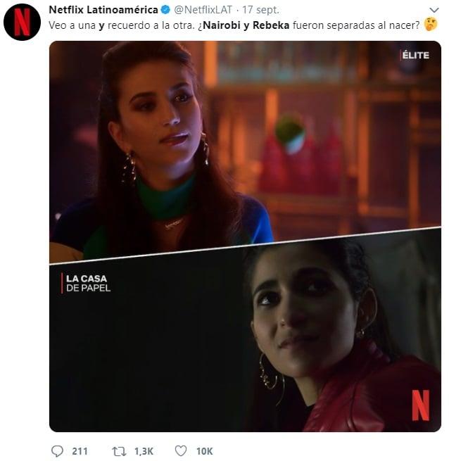 Netflix comentario sobre la comparación de Nairobi y Rebeka