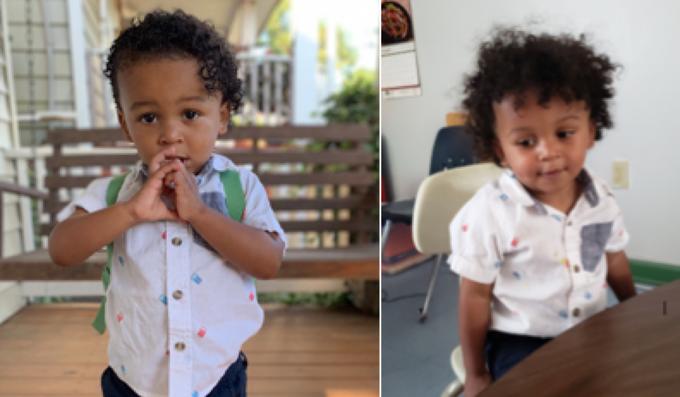 Niño con camisa a puntos de colores, mordiendo sus dedos, siendo fotografiada antes y después de su primer día de clases