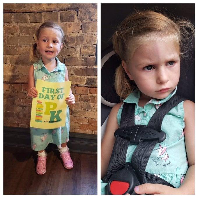 Niña con vestido azul aqua sosteniendo una cartulina amarilla, siendo fotografiada antes y después de su primer día de clases