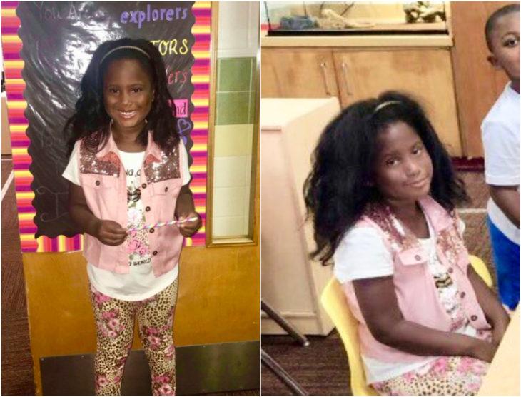 Niña con chaleco rosa palo, siendo fotografiada antes y después de su primer día de clases