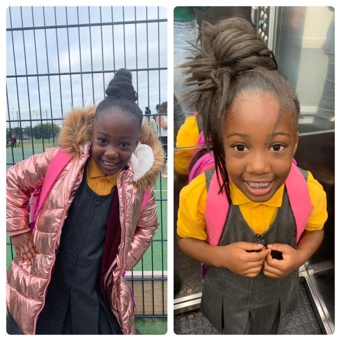 Niña con chamarra metálica en rosa pastel, siendo fotografiada antes y después de su primer día de clases