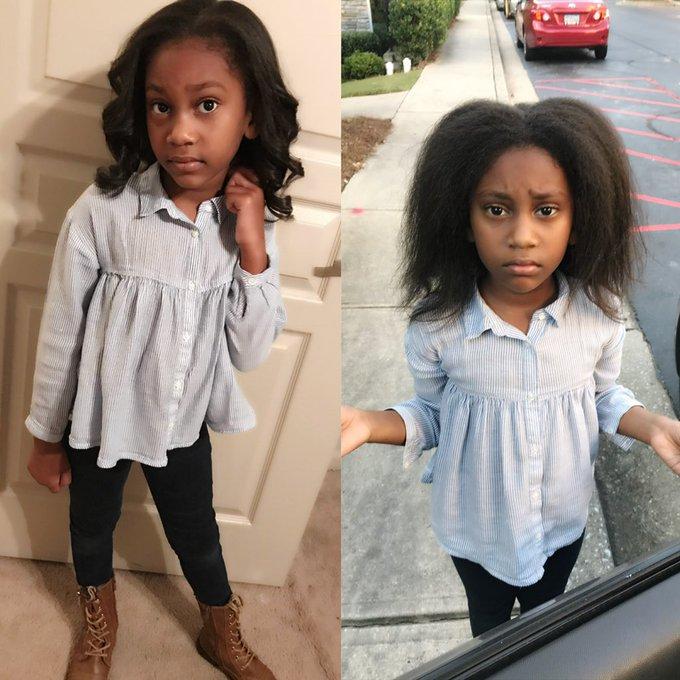 Niña con leggins negros, camisa tipo mezclilla, siendo fotografiada antes y después de su primer día de clases