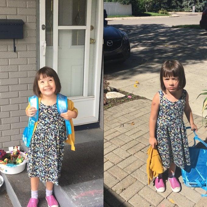 Niña con vestido de puntos de colores, mochila azul aqua, sonriendo, siendo fotografiada antes y después de su primer día de clases