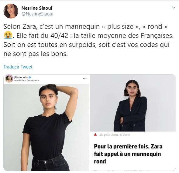 Tuit de una periodista francesa en el que cuestiona que Jill Kortleve sea talla grande