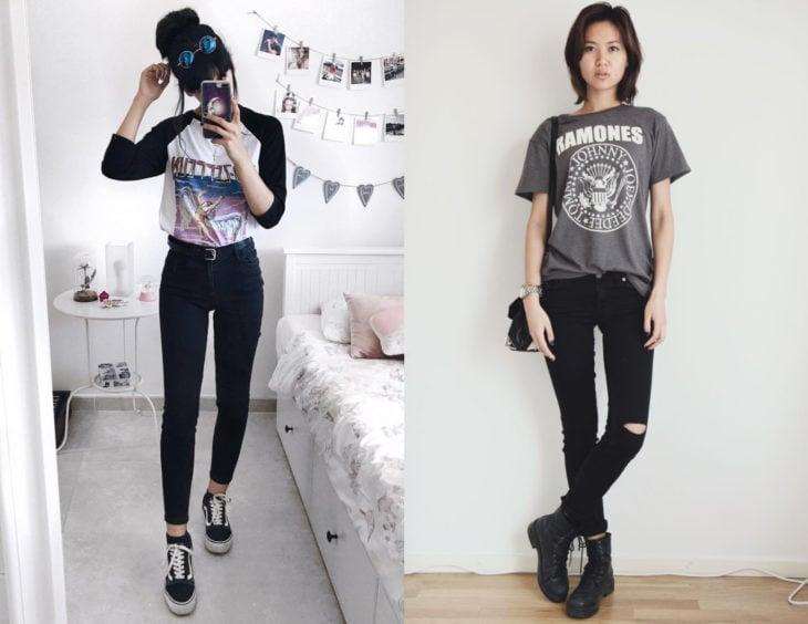 Atuendos con camisas rockeras; chicas con blusas de Led Zeppelin y Ramones, y pantalones entubados negros