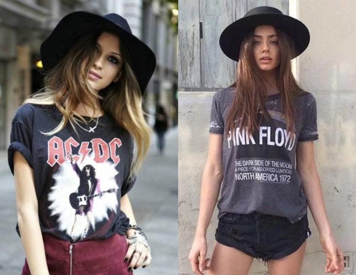 Atuendos con camisas de bandas de rock; chicas con blusas rockeras de ZC/DC y Pink Floyd con sombreros