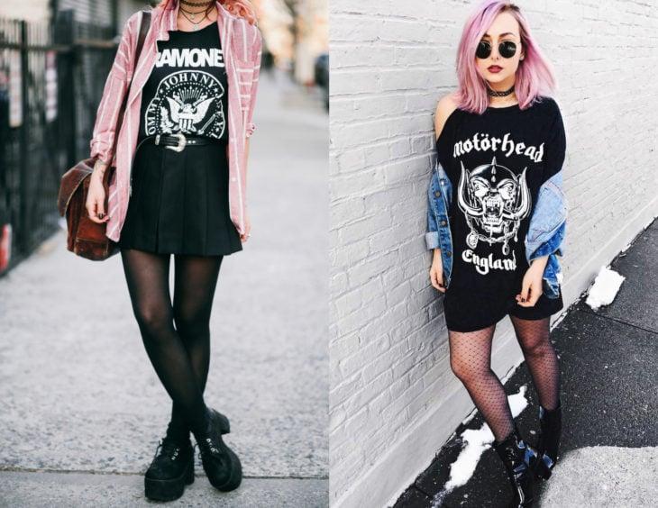 Atuendos con camisas de bandas de rock y medias; chicas con blusas de Ramones y Motorhead, con botas
