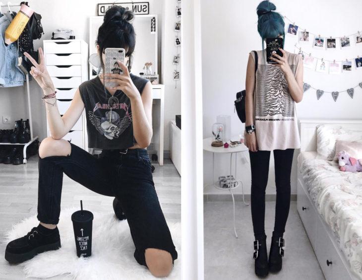 Atuendos con camisas de bandas de rock; chica de cabello azul y negro con blusas de Metalhead y Joy Division