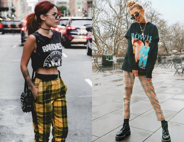 Atuendos con camisas de bandas de rock; chicas con pantalones amarillos escoceses y blusas de Ramones y David Bowie