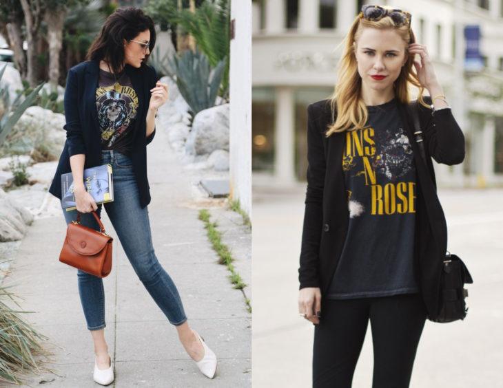 Atuendos con camisas de bandas de rock con saco; chicas con camisas de Guns and roses