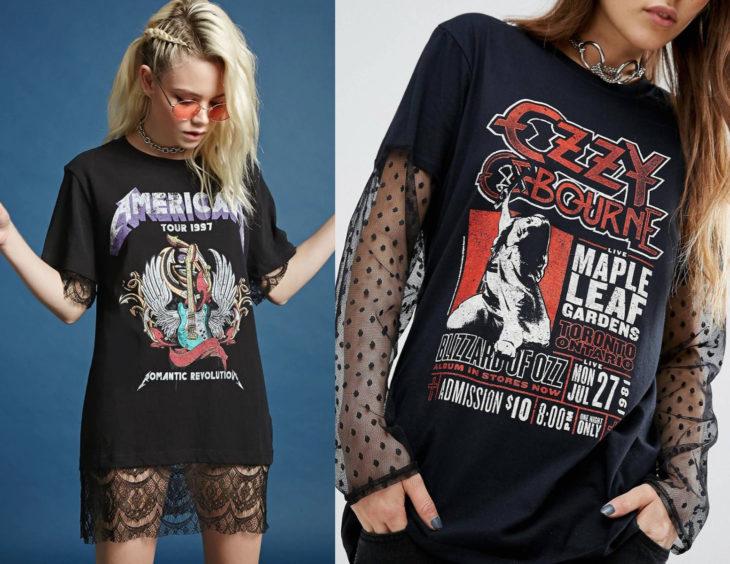 Atuendos con camisas de bandas de rock con encaje; chicas con blusas de Metallica y Ozzy Osbourne