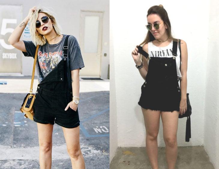 Atuendos con camisas de bandas de rock; chicas con blusas de Iron Maiden y Nirvana, y overoles negros