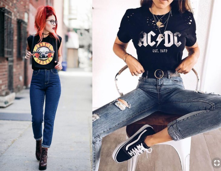 Atuendos con camisas de bandas de rock; chica pelirroja con blusa de Guns and roses y AC/DC con jeans