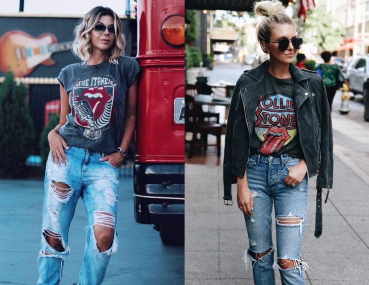 Atuendos con camisas de bandas de rock; chicas rubias con blusas de The rolling stones y pantalones de mezclilla desgastados