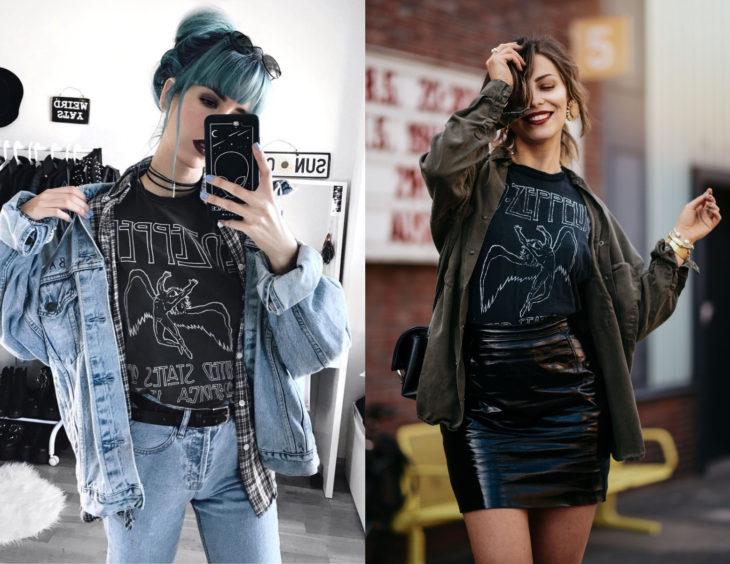 Atuendos con camisas de bandas de rock; chica de cabello azul con fleco y blusa de Led Zeppelin, chamarra de mezclila y falda de vinipiel