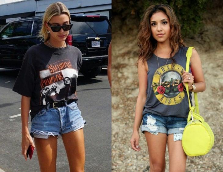 Atuendos con camisas de bandas de rock; Hailey Baldwin con blusa de Smashing Pumpkins y short; mujer castaña con prenda de Guns and roses y bolsa amarilla
