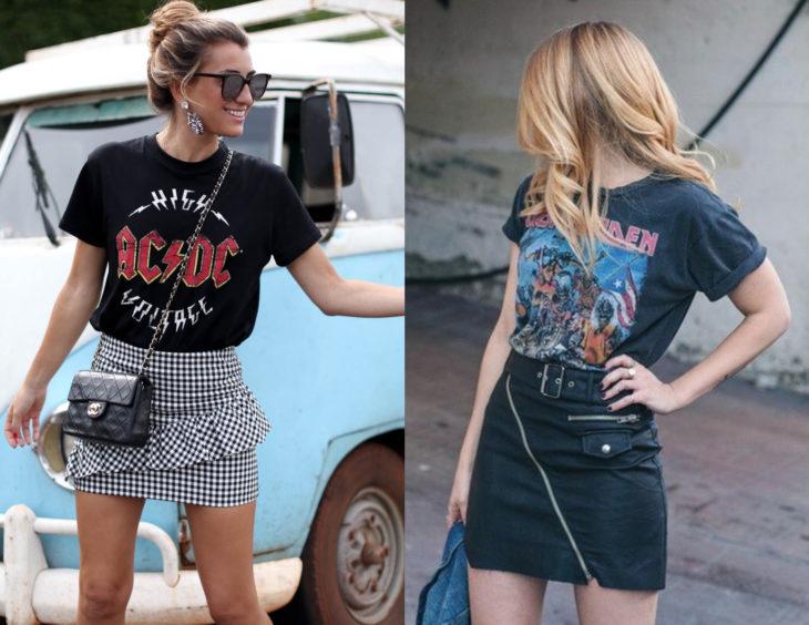 Atuendos con camisas de bandas de rock; mujeres rubias con blusas de Iron Maiden y AC/DC, con falda de cuadros y de cuero