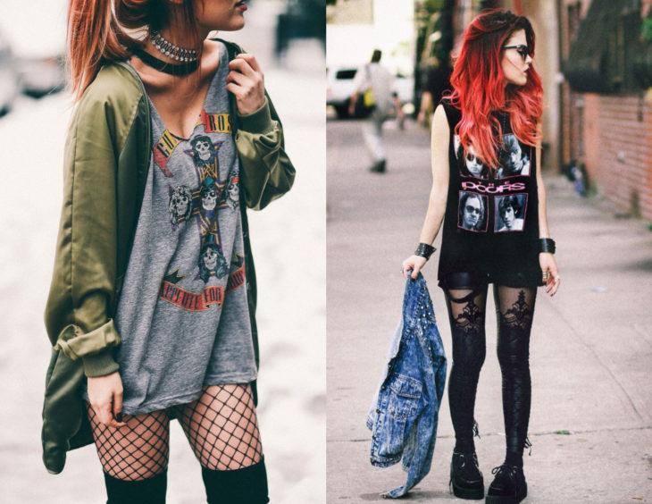 Atuendos con camisas de bandas de rock; chica de cabello rojo con blusas de Guns and roses y The doors como vestidos y con medias
