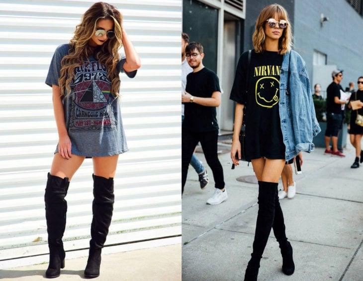 Atuendos con camisas de bandas de rock como vestido; chicas rubias con blusas de Nirvana y Pink Floyd, con botas negras largas