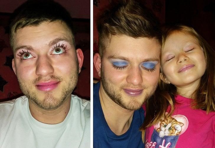 Papá maquillado por su hija