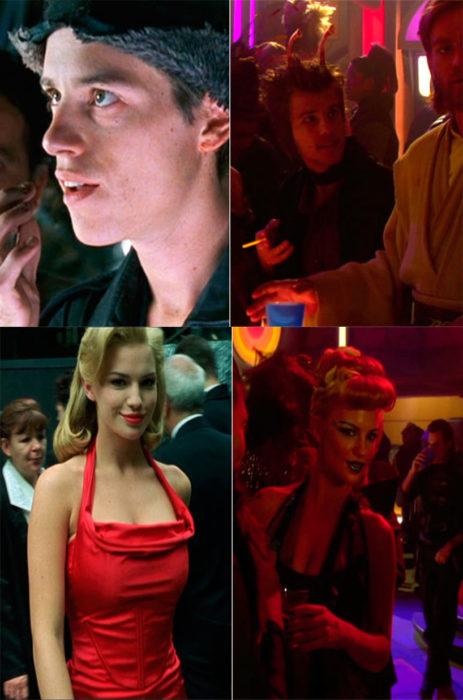 Escenas de Star Wars y Matrix. Chica de rojo caminando por la calle y en un club
