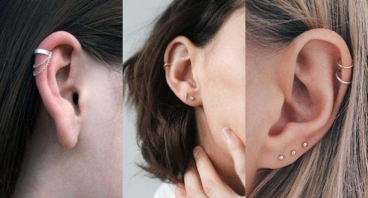 Piercings o perforaciones femeninas en la oreja; helix