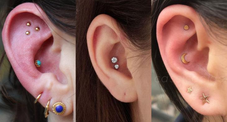 Piercings o perforaciones femeninas en la oreja; concha