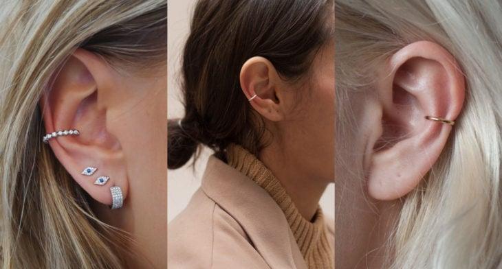 Piercings o perforaciones femeninas en la oreja; orbital