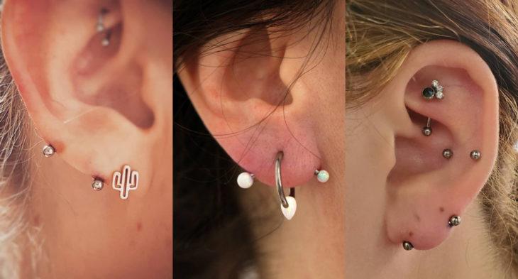 Piercings o perforaciones femeninas en la oreja; lóbulo transverso