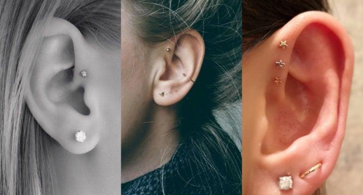 Piercings o perforaciones femeninas en la oreja; helix frontal o antihelix
