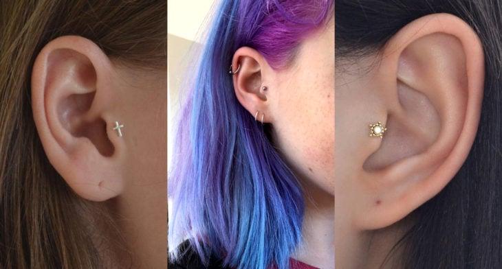 Piercings o perforaciones femeninas en la oreja; tragus