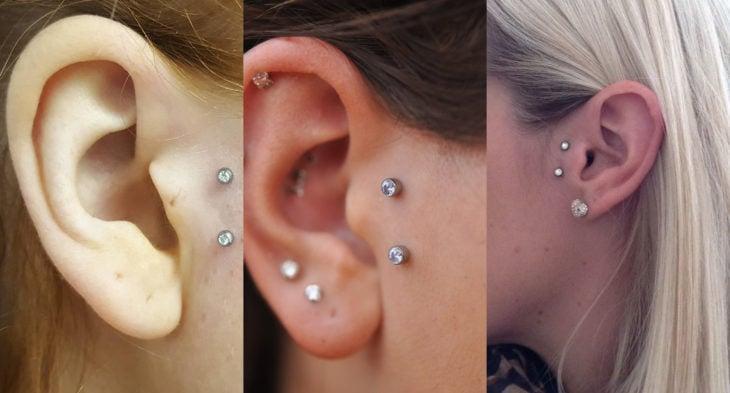 Piercings o perforaciones femeninas en la oreja; tragus vertical