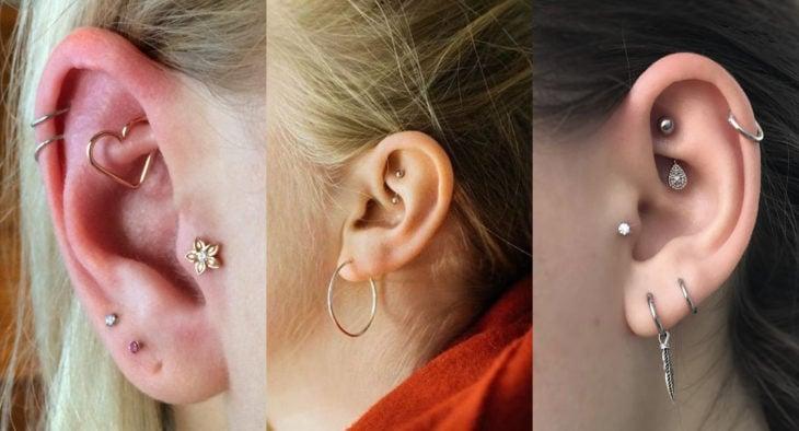 Piercings o perforaciones femeninas en la oreja; rook o torre