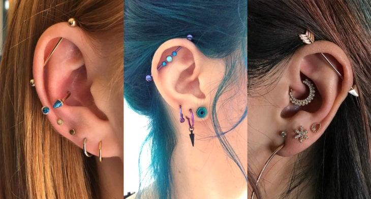 Piercings o perforaciones femeninas en la oreja; industrial